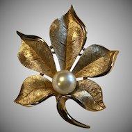 Vintage Crown Trifari Leaf w/ Faux Pearl Brooch
