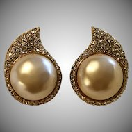 Vintage Faux Mabe Pearl & Rhinestone Earrings