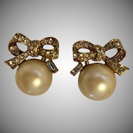 Vintage Nina Ricci  Faux Pearl & Crystal Bow Earrings