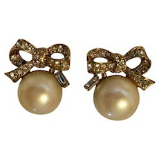 Vintage Nina Ricci  Faux Pearl & Crystal Bow Earrings