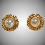 Vintage Signed Carolee Faux Mabe Pearl Earrings WOW!!