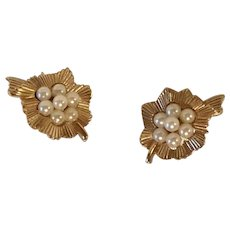 Vintage Crown Trifari Flower Faux Pearl Cluster Earrings