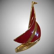 Vintage TRIFARI Enamel SailBoat Brooch