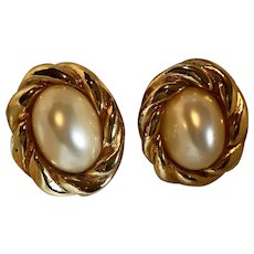 Vintage Kenneth Lane Faux Mabe Pearl Earrings