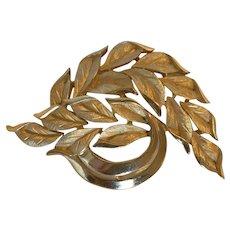 Vintage Crown Trifari Leaf Gold-tone Brooch
