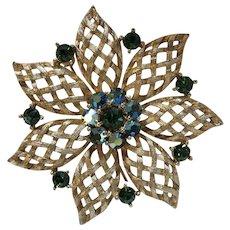 Vintage Lisner Rhinestone Flower Brooch
