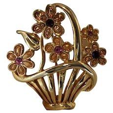 Vintage 1970's AAi Floral Basket Brooch