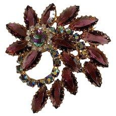"""Vintage """"Juliana """" by D&E  Purple/AB Rhinestone Flower Brooch"""