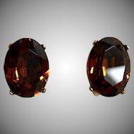 "Vintage ""RARE"" Crown Trifari Brandy Glass Earrings  WOW! Sale"