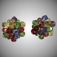 Vintage Circa 1950's Multi Pastel Crystal Cluster Earrings