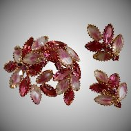 "Vintage ""Juliana"" Pink Givre and Rhinestone Brooch & Earrings Set"