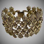 Vintage Coro Pegasus Wide Gold-Tone Modernist Bracelet