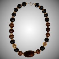 "Vintage ""TRIFARI "" Brown & Black Beaded Necklace"