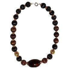 "Vintage ""TRIFARI "" Brown & Black Beaded Necklace"