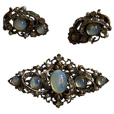 "Vintage Signed ""ART"" Victorian Revival Faux Moonstone Brooch & Earrings Set"