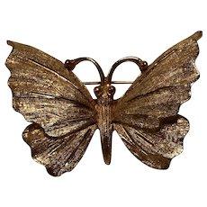 "Vintage Signed ""BSK"" Gold-Tone Butterfly Brooch"