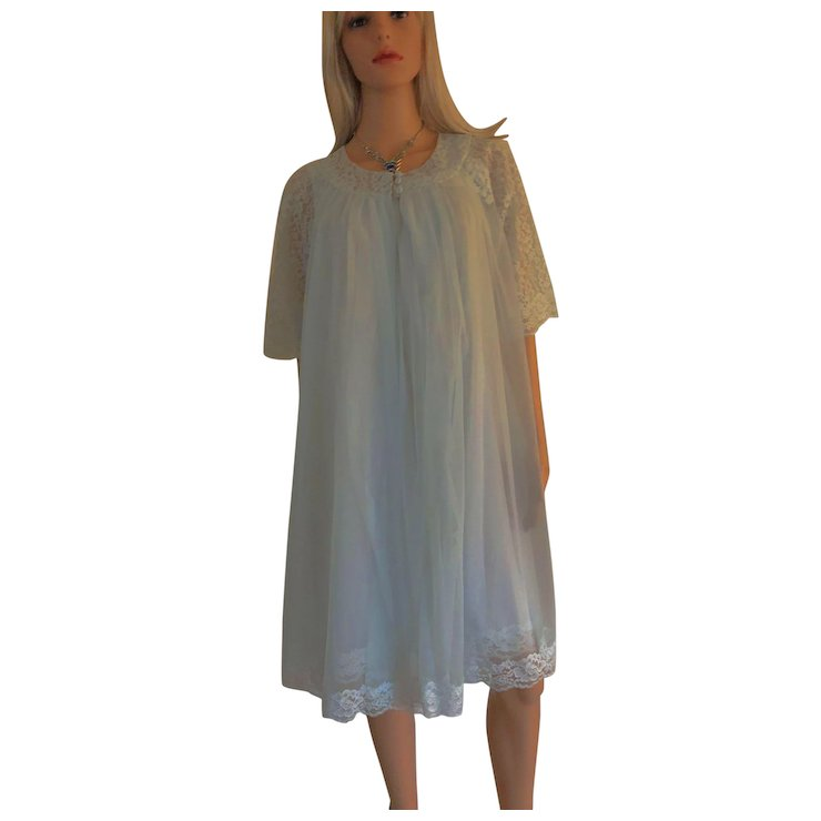 1969 SHADOWLINE Chiffon W/Lace Gown & Robe New w/Tags Old Stock SOLD ...