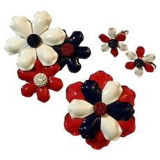 """Vintage 3 Piece """"WEISS"""" Rare~Enamel Red,White & Blue 2 Brooches & Earrings"""