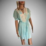 "1994 ""Shadowline ""Satin Lustre Seafoam Chemise Gown & Kimono Robe New w/Tags (Old Stock)"