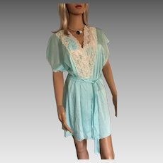 "1994 ""Shadowline ""Satin Lustre Seafoam Chemise Gown & Kimono Robe New w/Tags (Old Stock)"