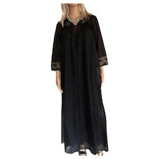 """1982 """"SHADOWLINE """" Sexy Black Chiffon/Lace Nightgown   & Robe New w/Tags (Old Stock)"""