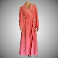 "1988 ""Shadowline "" Melon Polyvelva Belted Wrap Robe New w/Tags (Old Stock)"