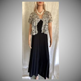 """1996 """"Shadowline """" Black/Creme Lace Peignoir New w/Tags (Old Stock)"""