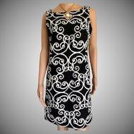 Ann Taylor Size 8 Petite Black & White Dress
