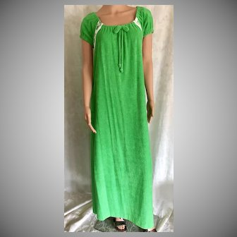 1977 Shadowline Green Terry Peasant Style Dress New w/Tags (Old Stock)