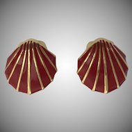 Monet Red & Gold Enamel Seashell Clip-on Earrings