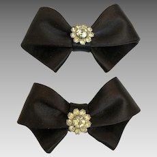 Vintage 1960's Black Satin and Rhinestone Bow Shoe Clips