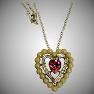 1960's Signed Avon Heart Pendant Necklace