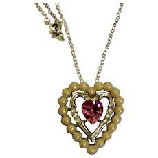 1960's Signed Avon Heart Pendant Necklace