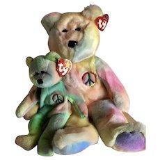 TY PEACE Beanie Baby & Beanie Buddy Tie Dye Plush Bears RETIRED 1990's NEW