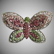 1970's Unsigned Beauty Green & Pink Rhinestone & Enamel Butterfly Brooch