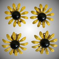 1950's 2 Pairs of DuBarry Yellow and Black Enamel Daisy Clip On Earrings