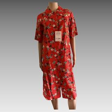 1978 Shadowline Sateen 100% Red Cotton Floral House Coat New w/Tags (Old Stock)