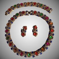 Circa 1940's Etruscan Revival French Gripoix Multi-Color Cabochon Necklace ,Bracelet & Earrings Set (STUNNING)