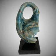 """Embrace "" Onyx Modernist Sculpture  by Anthony Quinn  $$"