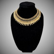 SALE! BSK 1950's Egyptian Revival Bib Collared Necklace
