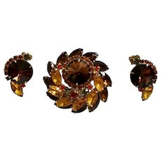 1960's Juliana by D & E Book Piece Rhinestone Rivoli Brooch & Earrings Set