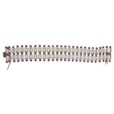 1960's  Hattie Carnegie Moonstone & Pink Rhinestone Stunning Bracelet