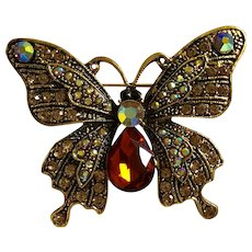 Beautiful Antiqued Gold-Tone Butterfly w/ Rhinestones Brooch