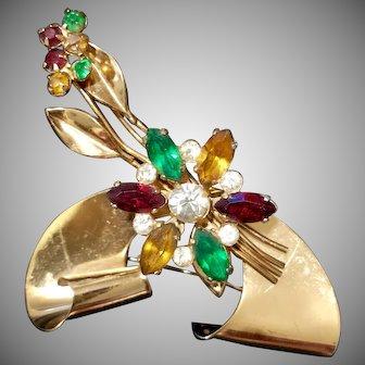 """1940's Signed Coro """"Art Deco"""" 3D Brooch w/Rhinestone Flower"""