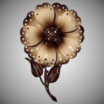 """1960's Signed """"HEDY"""" Brown & Beige Enamel Flower Brooch"""