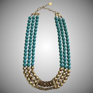 1980's Sarah Coventry-Gorgeous Faux  Turquoise,Gold & AB Square Beaded Necklace
