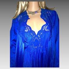 1985 Shadowline Blue Peignoir Gown & Robe New W/ Tags