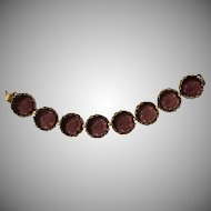 """1960's Victorian Style Etched Purple Glass Cameo Intaglio Link Bracelet 7"""""""