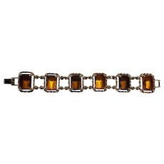 Sarah Coventry 2 Tone Amber Glass Gold.-Tone Link Bracelet (BEAUTIFUL)