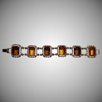 Sarah Coventry 2 Tone Amber Glass Gold.-Tone Link Bracelet (BEAUTIFUL)